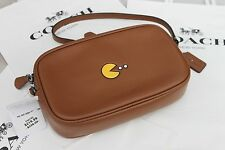 *NWT* Coach PAC-MAN Crossbody Pouch In Calf Leather Shoulder Bag F55743 Saddle