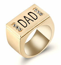 Men Rhodium Plated gole tone Ring Band DAD Father Day Size 8 Wedding Graduation