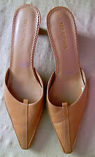 Merona Leather Tan Beigh Pumps Mules Slip On Heels Size 11 M Womens Shoes Used