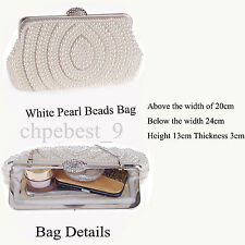 Ivory Handmade Gorgeous Pearl Bead Bag Prom Wedding Evening Clutch Handbag Purse