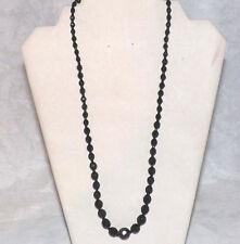Lovely Vintage Black Faceted Glass Single Strand Necklace 24""