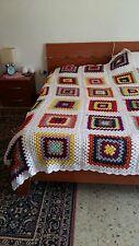 Coperta,copriletto singolo, fatta a mano ad uncinetto, lana mista,  idea regalo