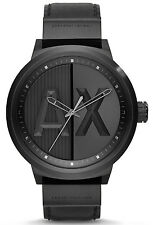 Armani Exchange AX1366 ATLC Black Dial Black Leather Strap Men's Watch