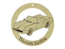 Triumph Spitfire Natural Maple Hardwood Ornament Sanded Finish Laser Engraved