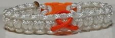 Multiple Sclerosis Ladies Petite Orange Ribbon Awareness White Paracord Bracelet