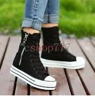 New Fashion Womens Canvas Platform High Top Lace Up Sneakers Shoes Ankle Boots