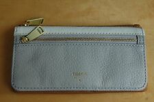NWT Fossil Preston Leather Flap Clutch Wallet - Neutral - 100% AUTHENTIC
