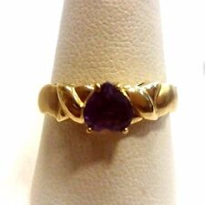 10K Yellow Gold Ring 1 heart shape amethyst size 7.25