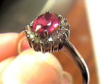 Sterling Silver 925 ring RUBY WHITE SAPPHIRE NATURAL SMALL SOLITAIRE SZ 9
