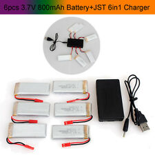 6 pcs 800mAh Battery+JST 6in1 Plug Charger For JJRC V686 H12C F181 RC Helicopter