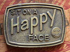 Vintage Sit On A Happy Face Belt Buckle