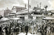 Fulton Fish Market NYC - Ferry - Street Cars Board of Health - 1873 - Art Matted
