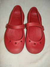 CROCS MARY JANE burgandy SIZE 1 J 3              pre-owned