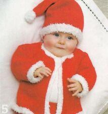 Knitting Pattern Baby Father Christmas Cardigan & Hat