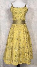 Yoana Baraschi FIT&FLARE Sequined Floral Tea length Mustard Yellow Midi Dress 6S