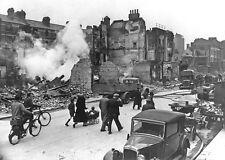 B&W WW2 Photo WWII British London Street Blitzkrieg