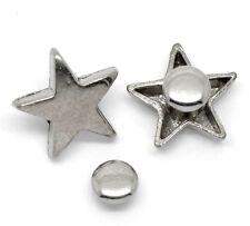 5x silberfarbene Nieten Ziernieten Schmucknieten Spikes Sterne 16x15mm