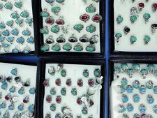 lot of 50 antique style jewelry turquoise stone fashion costume rings wholesale