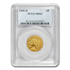 $5 Indian Gold Half Eagle Coin - Random Year - MS-63 PCGS - SKU #12921