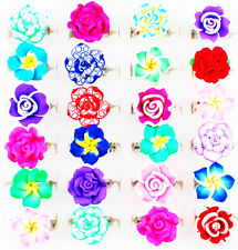 Wholesale Lot 30pcs Silver Plated Mixed Flower Adjustable Cute Children's Rings