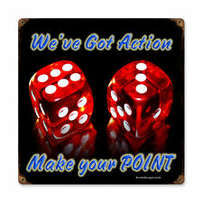 Dice Make Point Poker Würfel Spielwürfel Retro Vintage Sign Blechschild Schild