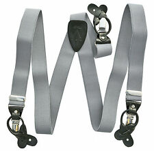 New in box Men's Suspender Silver Gray elastic braces convertible clips buttons