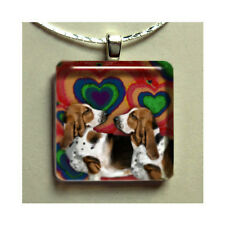 BASSET HOUND DOGS NECKLACE CHARM JEWELRY GIFT PET ART GLASS TILE PENDANT & CHAIN