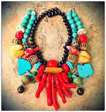 BLUE TURQUOISE AFRICAN COPPER Beads w/ Red Green Coral NECKLACE - MADE TO ORDER