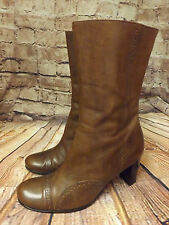Ladies I.F.W Brown Leather Zip Fastening Mid Heel Ankle Boots Size EU 39