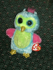 "Ty Boo OPAL( Blue/pink/green OWL ) 6"" Mint/Mint tag * RARE * JUSTICE Exclusive"