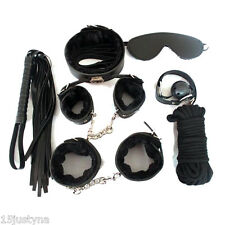 Bondage Set Kit Faux Fur Lined Luxury- Rope Ball Gag Cuffs Whip Collar Blindfold