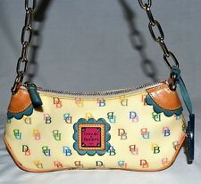 Dooney & Bourke Cream Mulit Colored Logo Small Canvas Coated Purse