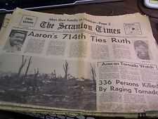 THE SCRANTON TIMES - 4/4/1974 - AARONS 714TH TIES RUTH - COMPLETE 1ST SECTION