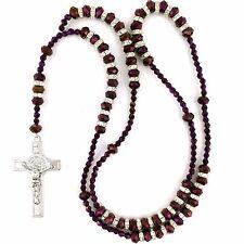 Metálico púrpura de cristal granos de rezo del rosario con crucifijo Cruz