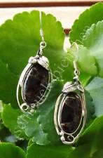 Orecchini pendenti Rame turchese nero Indiana Piuma Foglia Sterling Silber 925