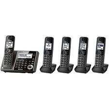 New ! Panasonic 5 Handset Link2Cell Cordless Phone KX-TG585SK