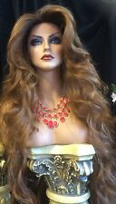 "STUNNING! Human Hair Blend,Swiss LACE FRONT , 32"" Long Rooted Golden Red Wig!"