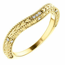 14k Yellow Gold Diamonds Solitaire Wrap Ring Enhancer contour band Curve Vintage