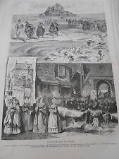 Gravure 1874 - Les Fêtes du Mont Saint Michel Les pèlerins Les Michelettes