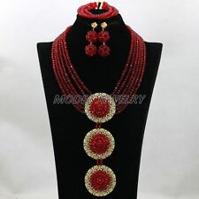 Deep Red African Costume Jewelry Set Nigerian Wedding Brdial Necklace Set Party