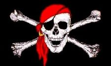 PIRATE FLAG LARGE 3X5' FOOT FT JOLLY ROGER FLAGS BANNER SKULL W/ RED BANDANA