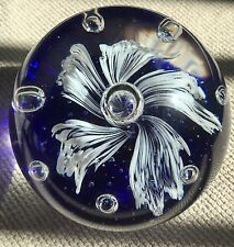 DYNASTY GALLERY LARGE BLUE WITH WHITE FLOWER SILVER BALLS PAPERWEIGHT VINTAGE