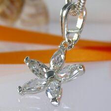 A090 Blume Anhänger Pendant  925 Silber Schmuck mit  Swarovski Elements Kristall