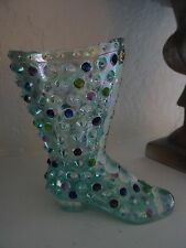 Fenton Art Glass HandPainted Hightop BOOT Shoe Figurine HOBNAIL Aqua Iridized