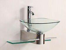 Bathroom Vanity Furniture Clear Tempered Glass Bowl Vessel Sink W/Faucet