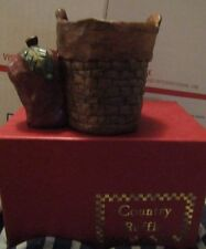 COUNTRY RUFFLE CERAMIC BASKET WITH AN APPLE ON THE SIDE OF THE BASKET AND CANDLE
