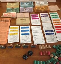 Collection Of Very Old Monopoly Money With Patent Numbers, Pieces & Wooden House