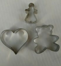 Three Metal Cookie Cutters Heart The Bear Mini Gingerbread Girl