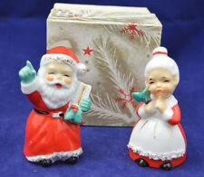 Vintage Santa Mrs Claus Salt Pepper Shakers Ceramic Trim Original Box Christmas