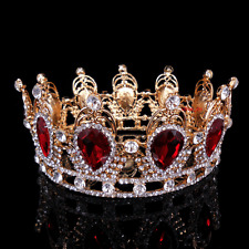 6cm High Ruby Red Sparkling Crystal Gold King Crown Wedding Prom Party Pageant